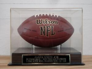 James White Football Display Case With A New England Patriots Engraved Nameplate