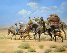 Horse print The Little Traveler by Haggard s/n Arab horses Saluki donkey camel