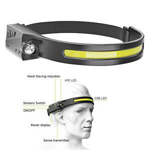 COB+LED Head Band Light Flashlight Headlamp Broadbeam Torch Lamp Waterproof USB