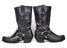 Vtg 90s Frye Black Leather Boots Biker Harness Strap Engineer Motorcycle 9.5