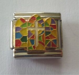 9mm Italian Charms E57 Cross Stained Glass  Fits Classic Size Bracelet