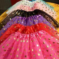 3 Layer Petti Ballet Gold Point Dance Tutu Tulle Skirt Baby Girls Kids Dancewear