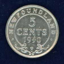 1940 C Newfoundland Five Cents Silver Coin