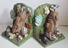 New listing Golfer Bookends 3-D Resin Bag, Clubs Tees Hat Gloves Shoes Bucket Balls Flag
