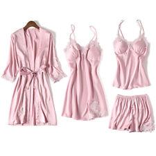 Womens 4PCS Silk Satin Pajama Sets Sleepwear Nightwear Pyjamas Soft Loungewear