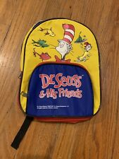 Vintage 1997 Dr Seuss His Friends Childs Small School Book Bag Backpack 12x9 E