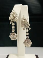 Gold 4.00 ct Diamond Dangle Earrings Gorgeous Vintage 14 Kt Ladies White