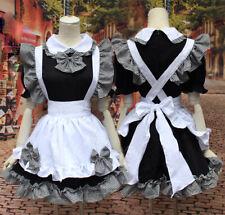 Black Girl Women Lolita Maid Dress Waitress Party Amine Cosplay HalloweenCostume