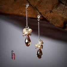 Boucles d'Oreilles Clous Perles de Culture D'eau Douce Rose Goutte Ambré Cadeau