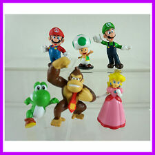 "HOT 6 pcs Super Mario Bros Luigi Toad Yoshi 1.5"" - 2.5"" Figures Toy Doll"