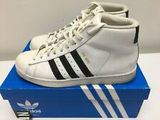 ADIDAS PRO MODEL TRAINERS, HIGH TOP, WHITE, UK SIZE 8 VGC