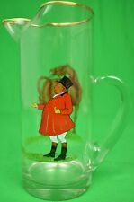 Abercrombie & Fitch Glass Pitcher w/ Hand-Painted Fox-Hunt Scene