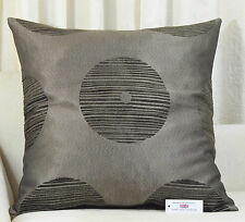 "CUSHION COVER 26""x26"" 66cm  sq. Circles Design Chenille Jacquard Brown Bronze"