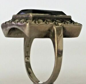 Art Deco Sterling Silver Marcasite Onyx Ring Germany Size O 17.3mm