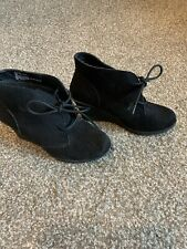 WHITE MOUNTAIN Women's Black Suede Lace Up Wedge Booties Size 6