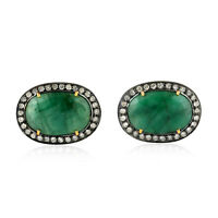 Memorial Day Gift 6.8ct Emerald Diamond 18kt Solid Gold Silver Cufflinks Jewelry