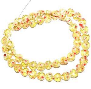 """G3475 Light Golden Olive w Multiple Flowers 8mm Heart Millefiori Glass Beads 15"""""""