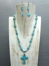 """16"""" Turquoise Roundells Necklace with Cross Pendant Free Earrings Handmade"""