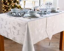 LARGE STAG WHITE TABLE CLOTHS METALLIC SILVER DEER REINDEER XMAS GREY SPARKLE