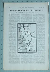 1914 WW1 PRINT GERMANYS LINES OF DEFENCE FORTRESSES RHINE & MEUSE FORTIFICATION