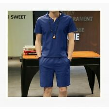 Mens Casual 2 Piece Shirt Shorts Suit Cotton Linen Slim Fit Chinese Tang Summer