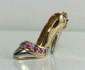 14K Gold Pink Sapphire Stiletto Heel Shoe Pendant Charm - Almost Unworn !