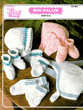 Baby Hats Socks BOOTIES and Mittens Sets in DK Knitting Pattern 0117