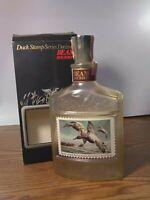Vintage JIM BEAM Bourbon Decanter Canvasbacks Stamp Label - Duck Stamp 1st Issue