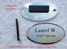 """Large SILVER OVAL Name Tag w/ Silver Plastic Frame & Magnet,  approx 3.3"""" x 1.8"""""""