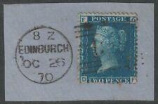 1858 2d Blue Sg45 Plate 13 Used On Piece Edinburgh Postmark