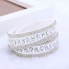White & Silver Rhinestone Vegan Leather Bracelet