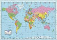 GIANT /& LARGE A0 A1 WORLD MAP WALL CHART INCLUDING FLAGS LAMINATED OPTION MAP01