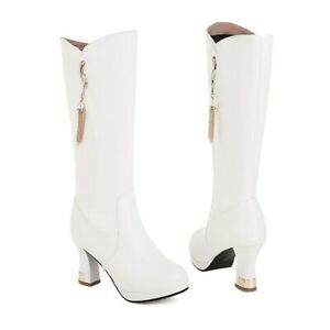 Women's Cowboy Chunky Heel Casual Round Toe Mid Calf Boots Winter Warm 34/43 D
