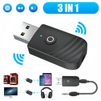 Bluetooth Wireless USB 5.0 Audio Transmitter Receiver 3in1 Adapter For TV PC Car