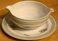 Vintage Charles Ahrenfeldt Limoges Porcelain Gravy Boat with Attached Underplate
