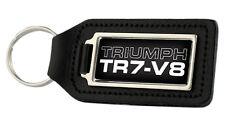 Triumph TR7 V8 Rectangle Black Leather Keyring