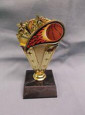 flame Basketball trophy ball theme gold star on black wood base