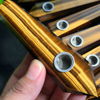100% Natural Crystal Tiger-eye Stone Smoking Pipe Wand Healing