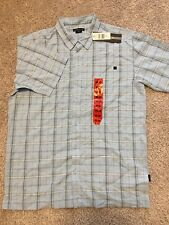 NWT O'Neill Mens Blue Squares Plaid Short Sleeve Button Down Dress Shirt Size M