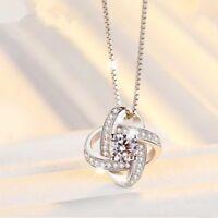 Women Winding 925 Sterling Silver Swirl Pendant Necklace Chain Jewellery