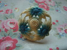 Vintage Blue Flower Celluloid  Push Pin~Bulletin Board/Craft Room/Kitchen/Office