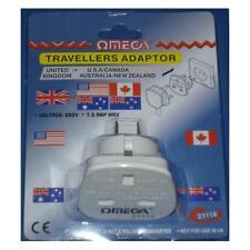 Omega 21116 Travel Adaptor 3 Pin UK to 2 Pin USA Canada Australia New Zealand