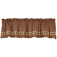New Primitive Country Christmas Burgundy GINGERBREAD MAN STAR VALANCE Curtains