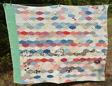 "vtg  Quilt patchwork Worn tattered w/ old repairs hand stitched  68"" x83"" Cutter"