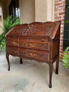 Antique French Carved Oak Secretary Desk Bureau Drop Front Louis XV Style
