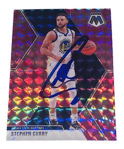 2019-20 Panini Mosaic #70 Stephen Curry Signed Warriors Auto Pink Prizm (USA SM)