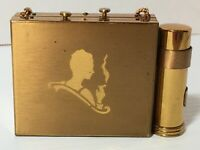 Gold Color Vintage Art Deco Style Compact w Smoking Woman Flapper Motif Lipstick