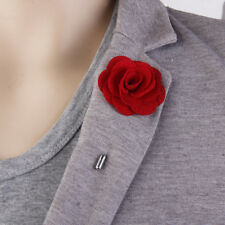 Fabric Rose Lapel Men Wedding Party Favors Boutonniere Tuxedo Brooch Pin