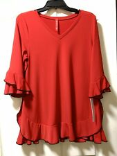 NWT IC By Connie K Size S Red Ruffle Tunic