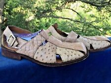 Stacy Adams Ostrich Leather Crocs Alligator Sandals Loafers Mens Shoes Size 8